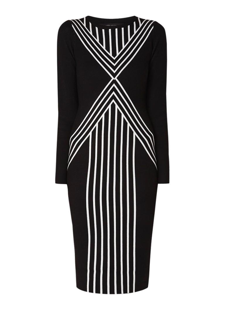 Karen Millen Gebreide kokerjurk met streepdetail zwart