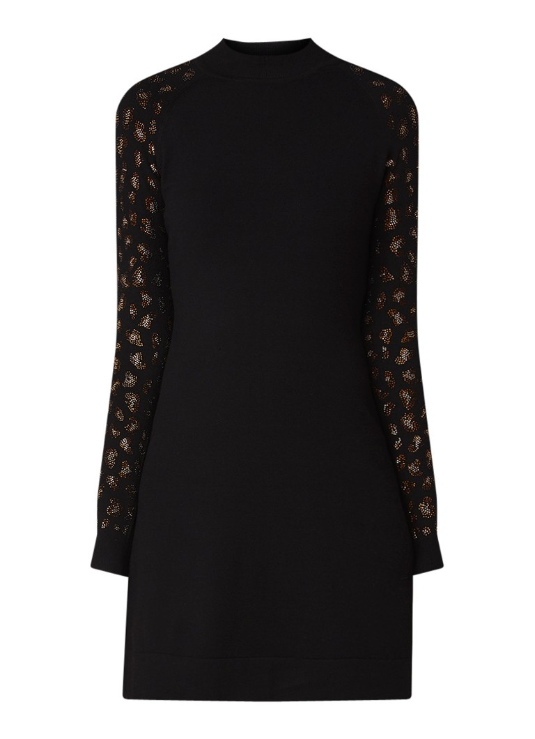 Karen Millen Crystal Leopard trui-jurk met strass-decoratie zwart