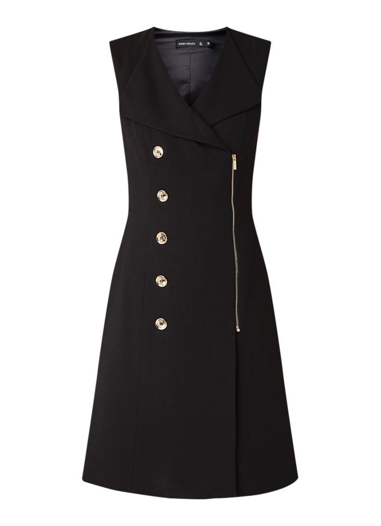 Karen Millen Mouwloze tuniekjurk met blazerlook zwart