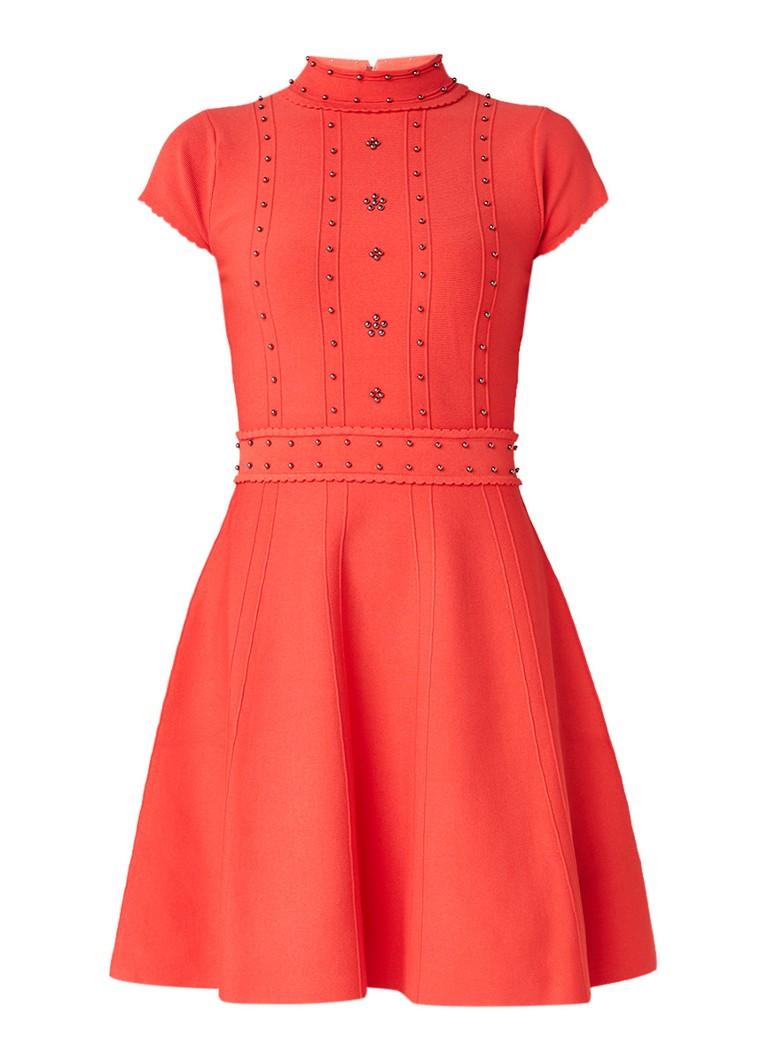 Karen Millen Fijngebreide A-lijn jurk met studs rood