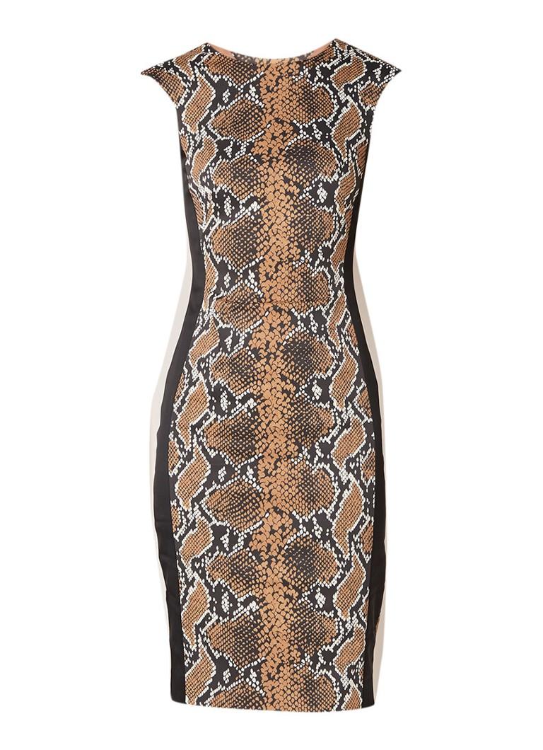 Karen Millen Kokerjurk van satijn met slangendessin bruin