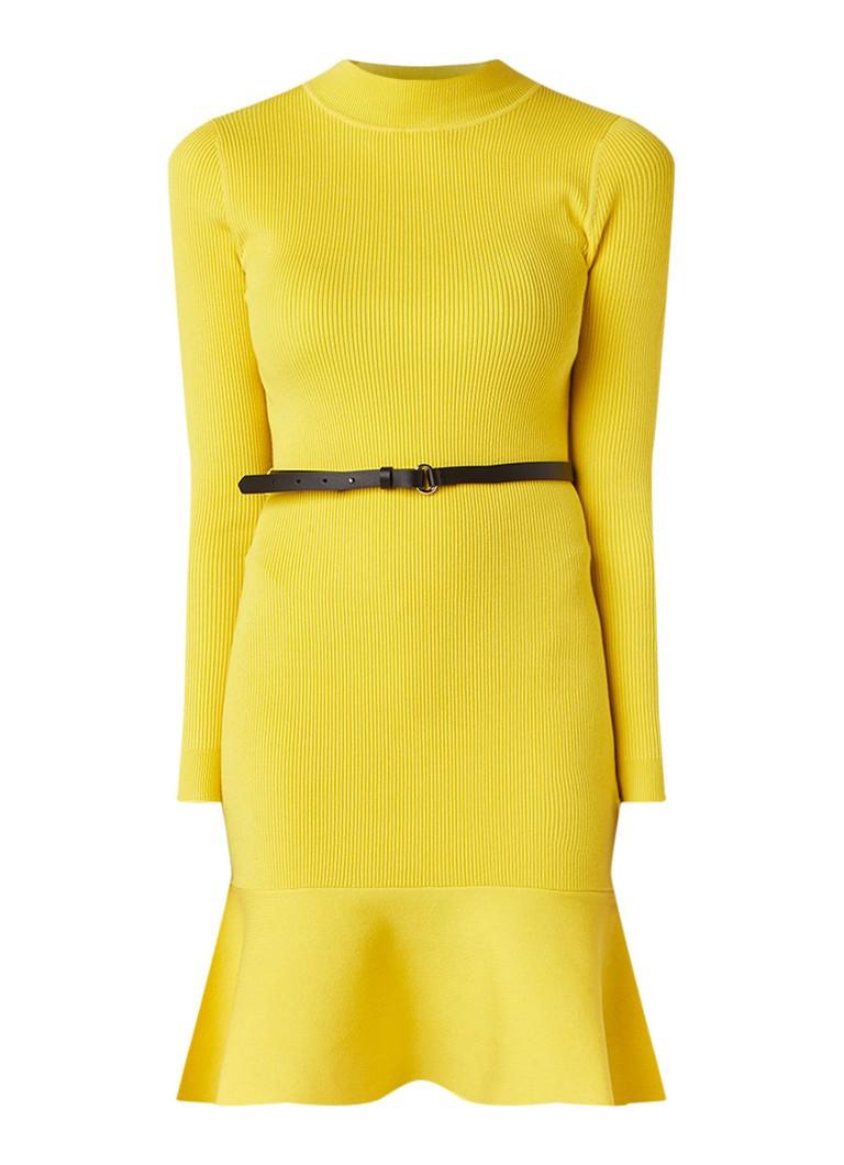 Karen Millen Ribgebreide fitted jurk met volant en ceintuur geel
