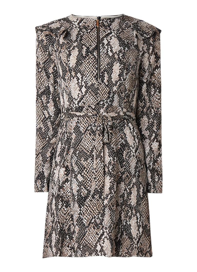 Karen Millen A-lijn jurk met volant en slangendessin lichtbruin