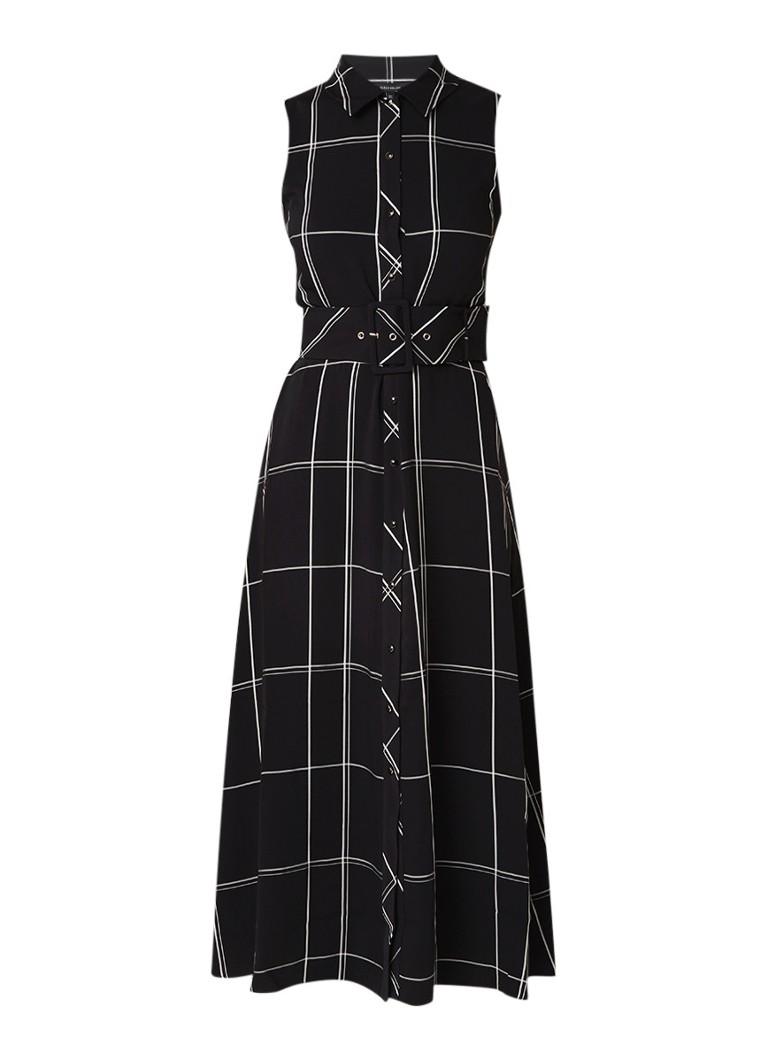 Karen Millen Maxi-jurk met ruitdessin en ceintuur zwart