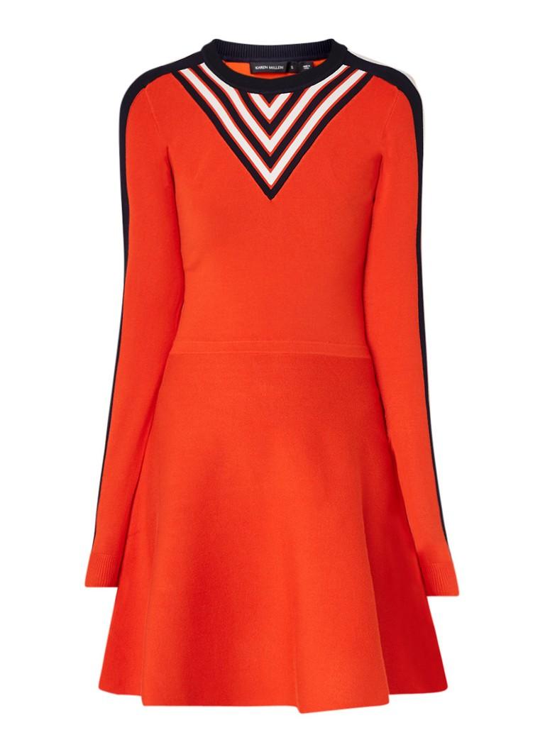 Karen Millen Fijngebreide A-lijn jurk met streepdessinFFijngebreide A-lijn jurk met streepdessiniFijngebreide A-lijn jurk met streepdessinjFijngebreid