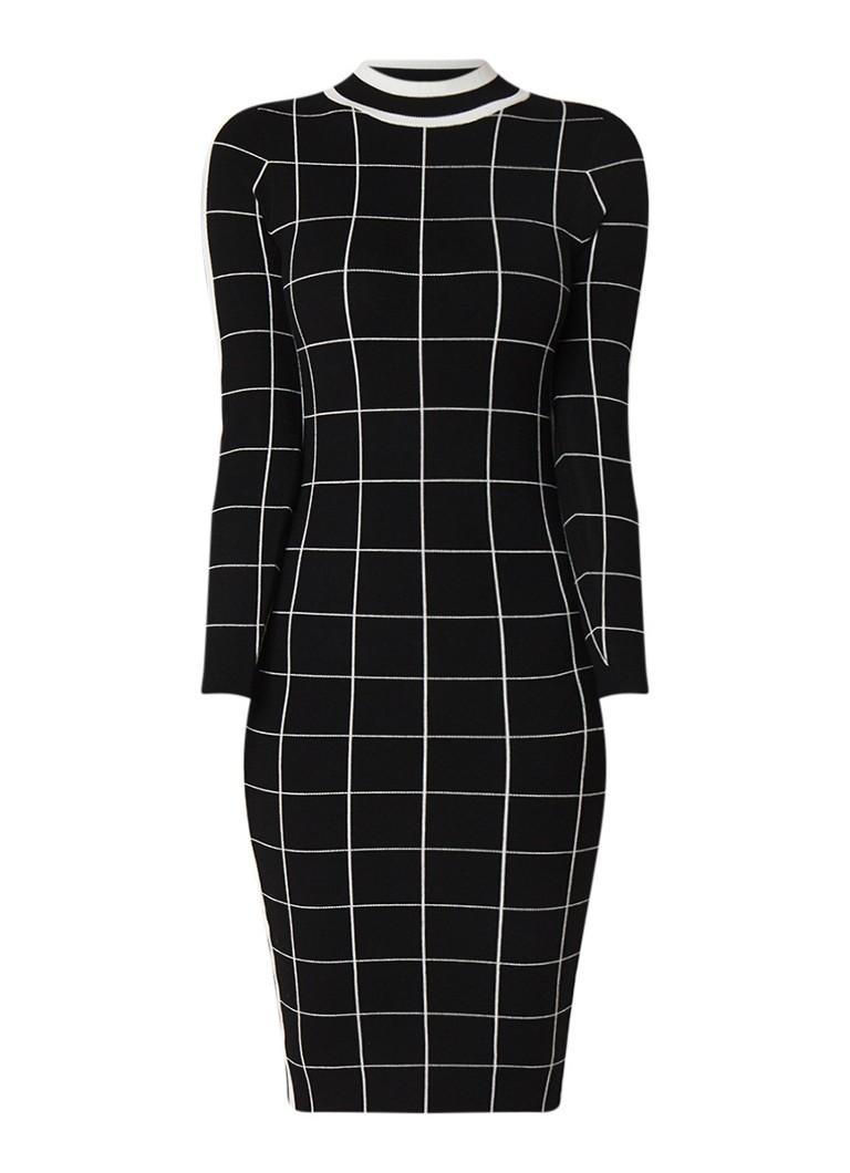 Karen Millen Fijngebreide bodycon jurk met ruitdessin zwart