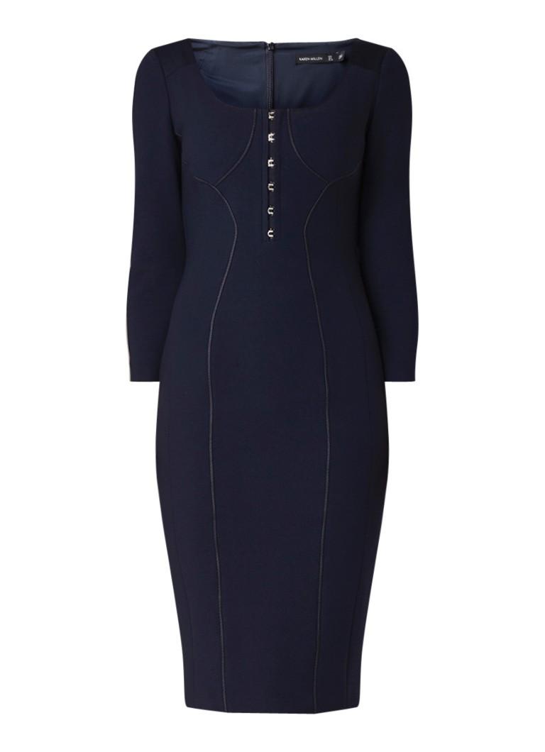 Karen Millen kokerjurk van jersey met coupenaden donkerblauw