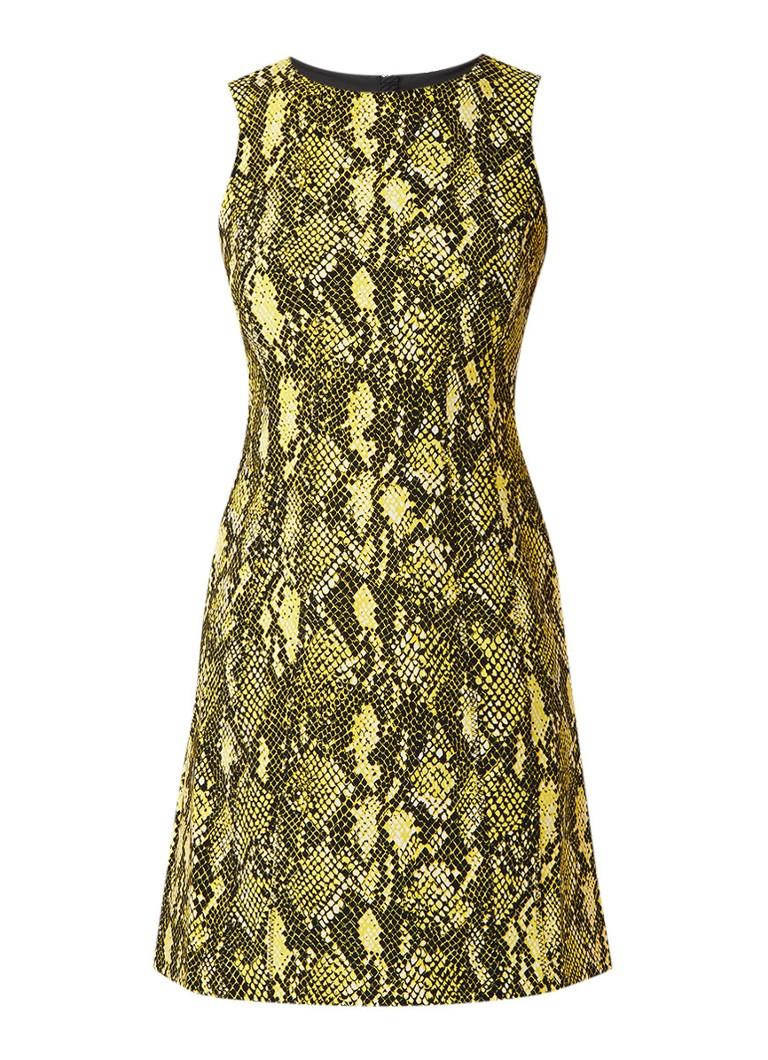 Karen Millen Mouwloze A-lijn jurk met slangendessin geel