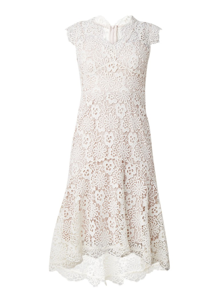 Karen Millen Mouwloze jurk van kant met volant gebroken wit