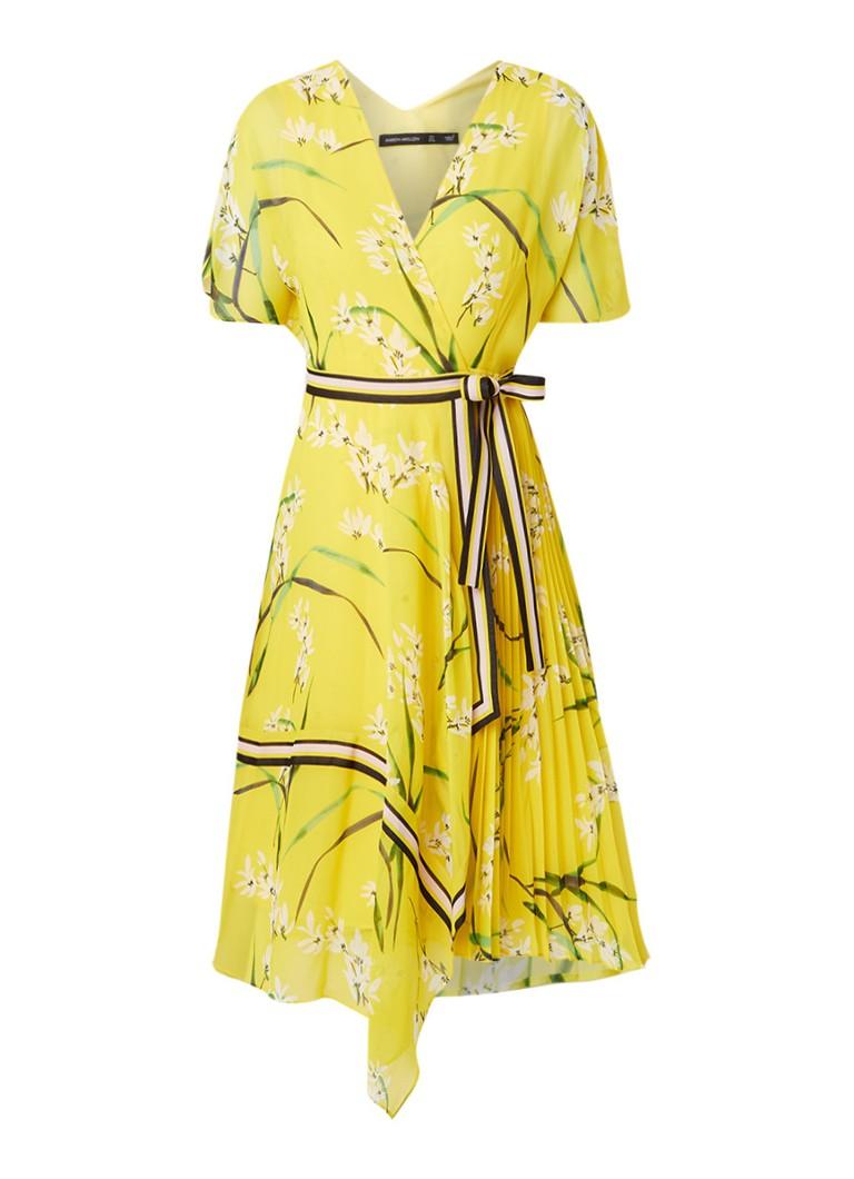 Karen Millen Chiffon wikkeljurk met bloemendessin geel