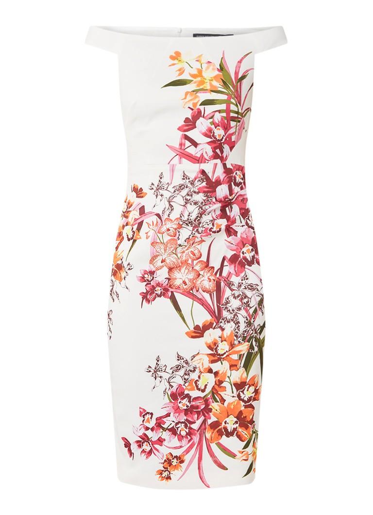 Karen Millen mouwloze midi-jurk met bloemendessin wit