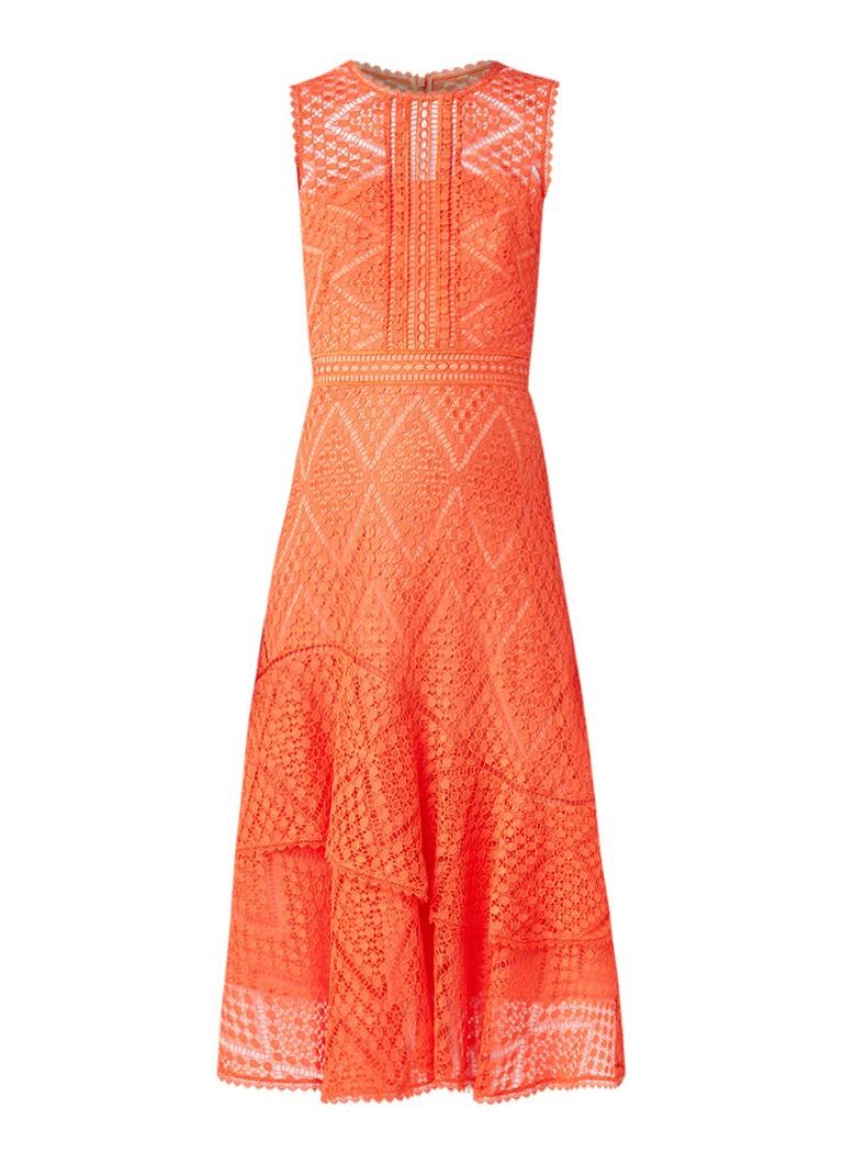 Karen Millen Maxi-jurk van kant met volant koraalrood