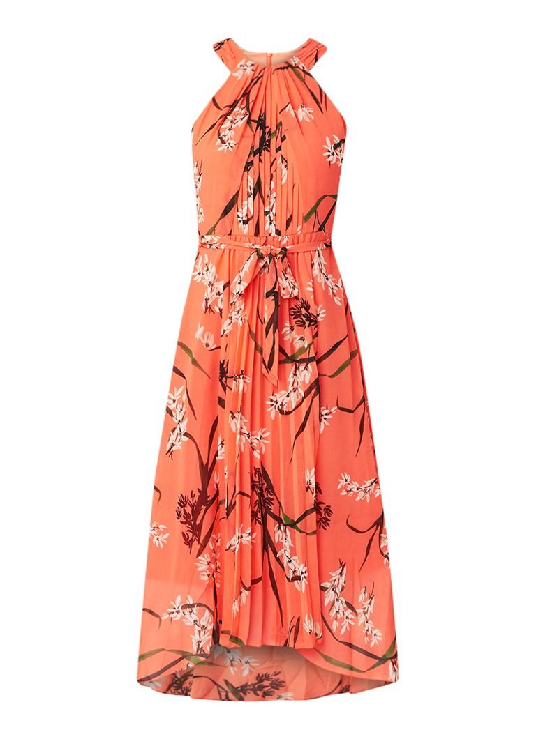 Karen Millen Oriental maxi-jurk met bloemendessin oranjerood