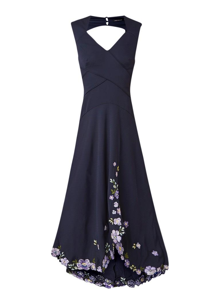Karen Millen Midi-jurk met borduring en rugdecolleté donkerblauw