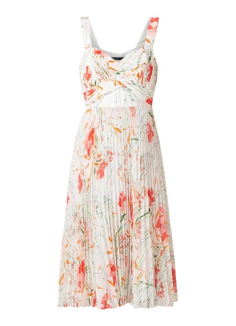 Karen Millen Midi-jurk met bloemendessin en plissé ivoor