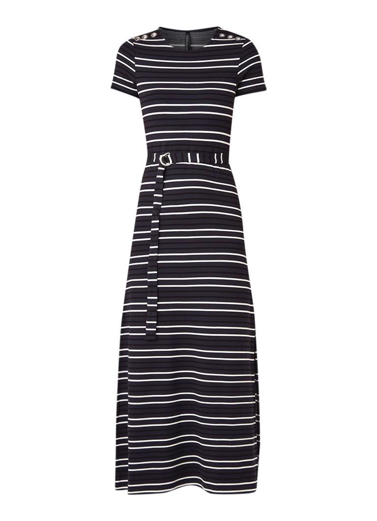 Karen Millen Midi-jurk met streepdessin en ceintuur donkerblauw