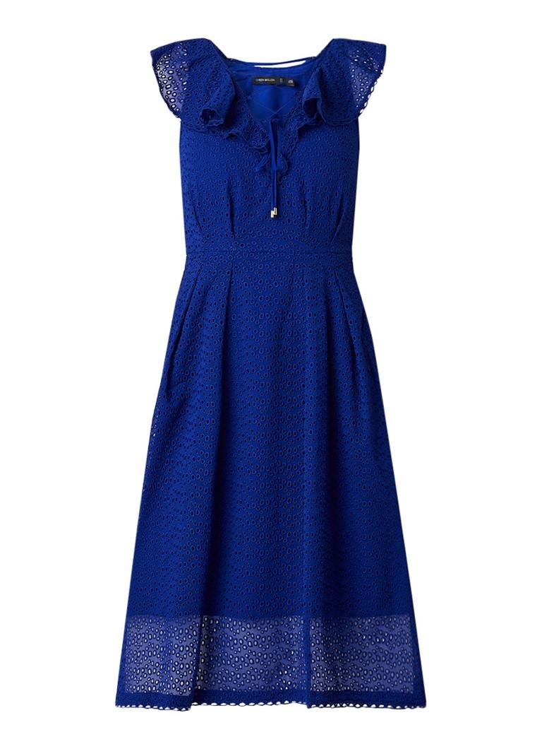 Karen Millen Midi-jurk van broderie met rijgdetail kobaltblauw