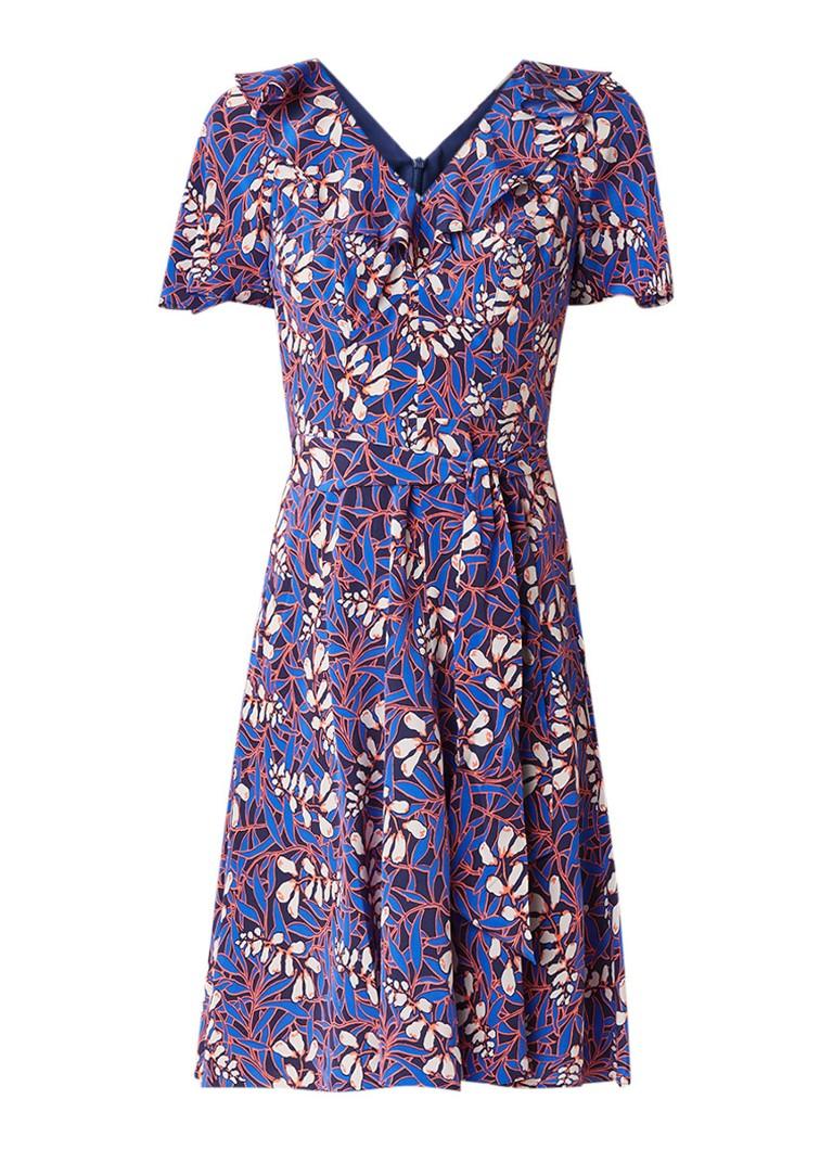 Karen Millen Foxglove midi-jurk van zijde met bloemendessin kobaltblauw