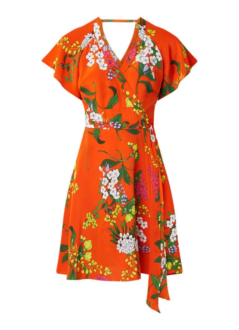 Karen Millen Wikkeljurk van zijde met bloemendessin oranje