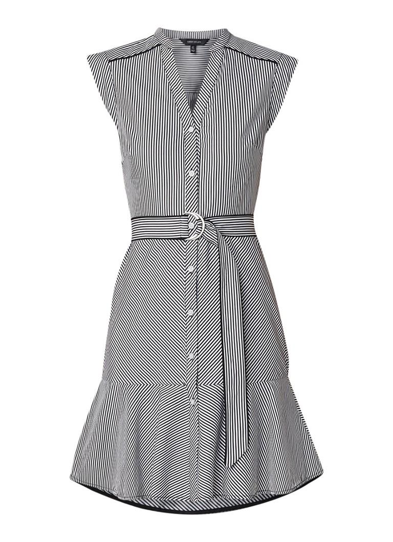 Karen Millen Mouwloze blousejurk met streepdessin en strikceintuur zwart