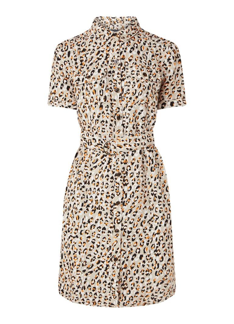 Karen Millen Blousejurk met strikceintuur en luipaarddessin beige