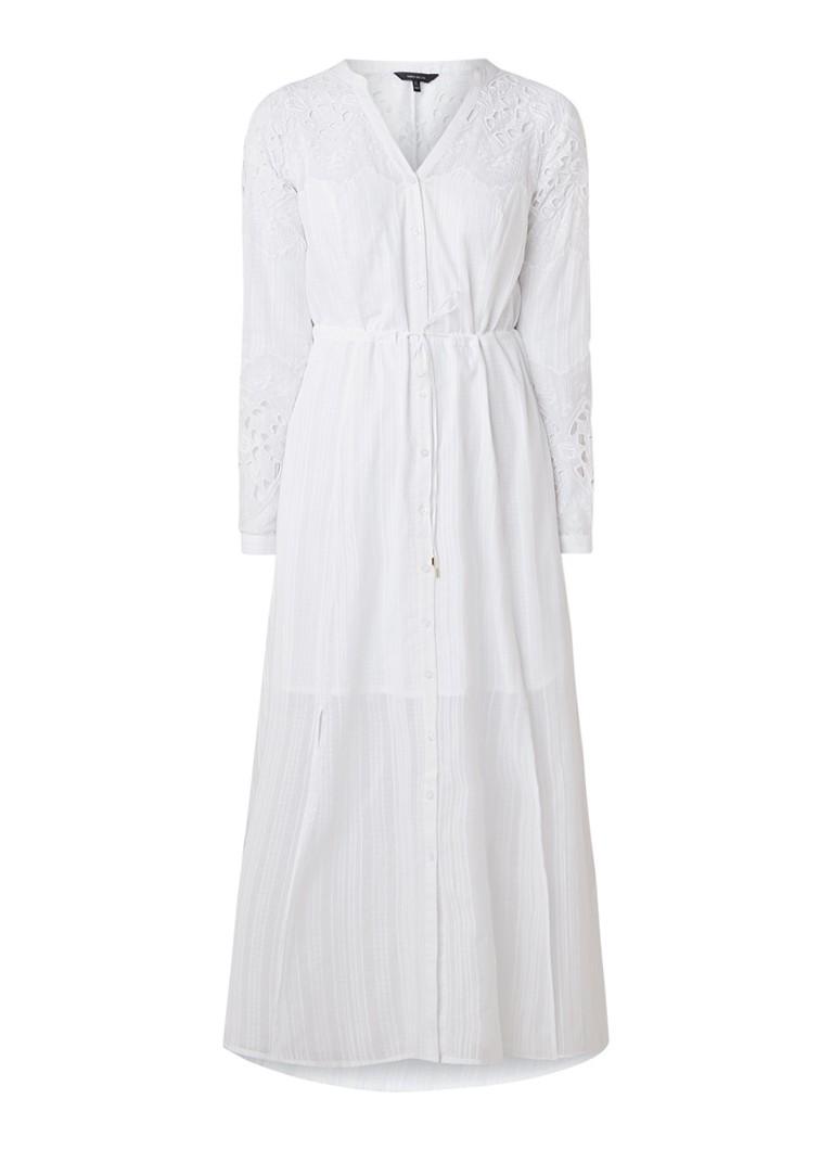 Karen Millen Maxi-jurk met inzet van kant en striksluiting wit