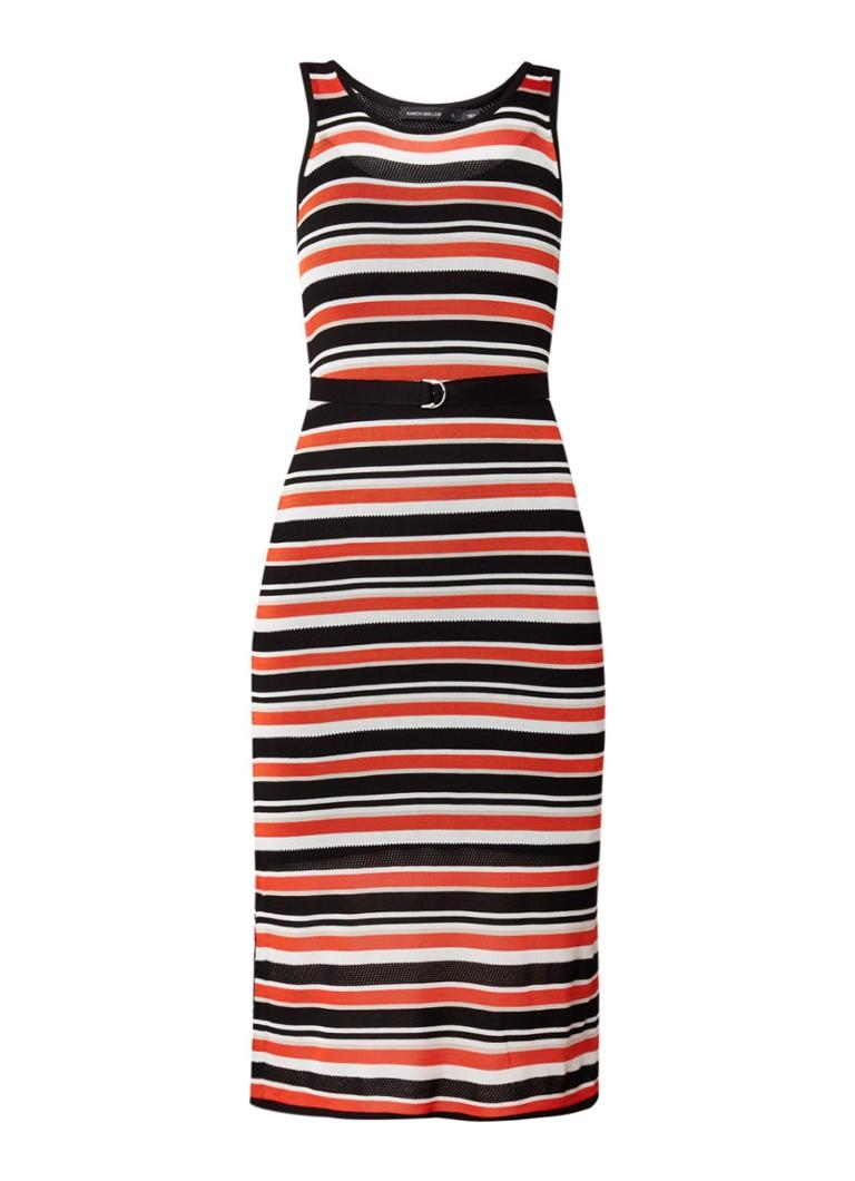 Karen Millen Fijngebreide maxi-jurk met streepdessin en ceintuur zwart