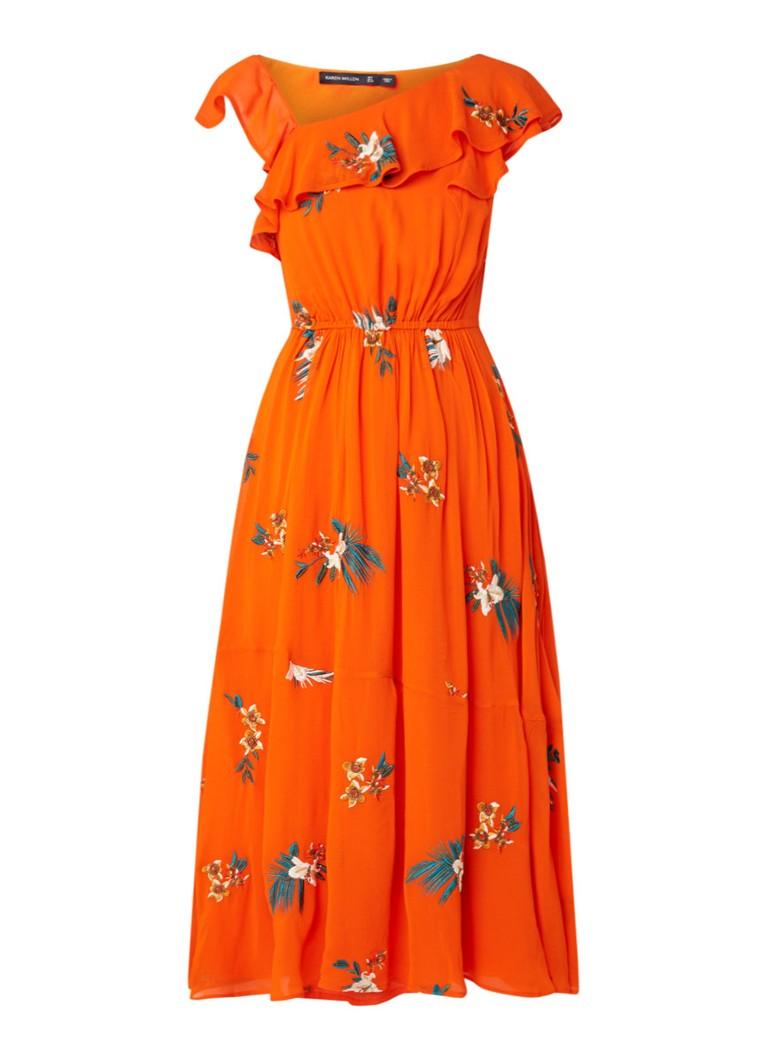 Karen Millen Havana midi-jurk met borduring oranje