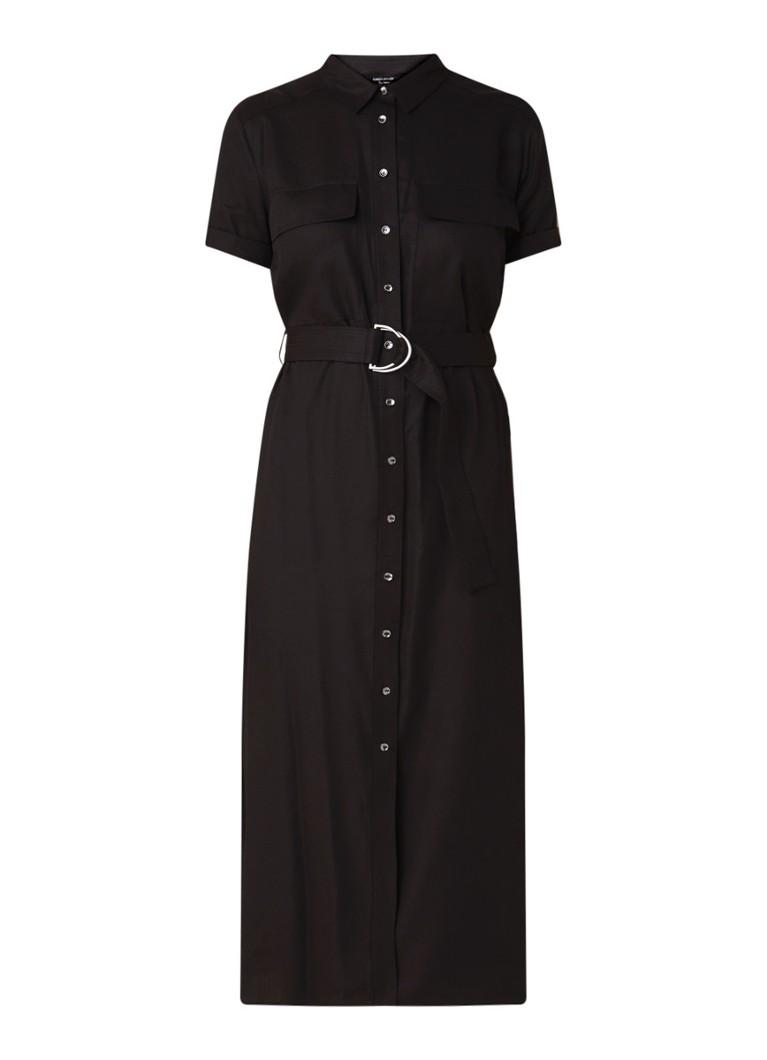 Karen Millen Maxi blousejurk met ceintuur en borstzakken zwart
