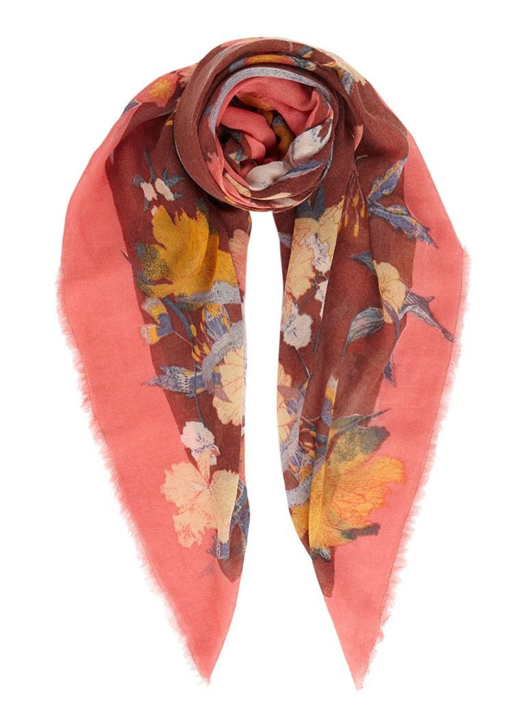 Becksöndergaard Rosea Flower sjaal in kasjmierblend 140 x 140 cm