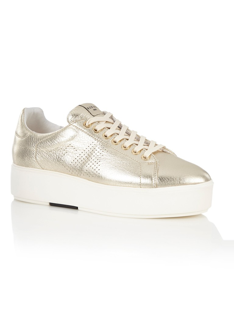 Nubikk Elise Platform sneaker van leer met metallic finish