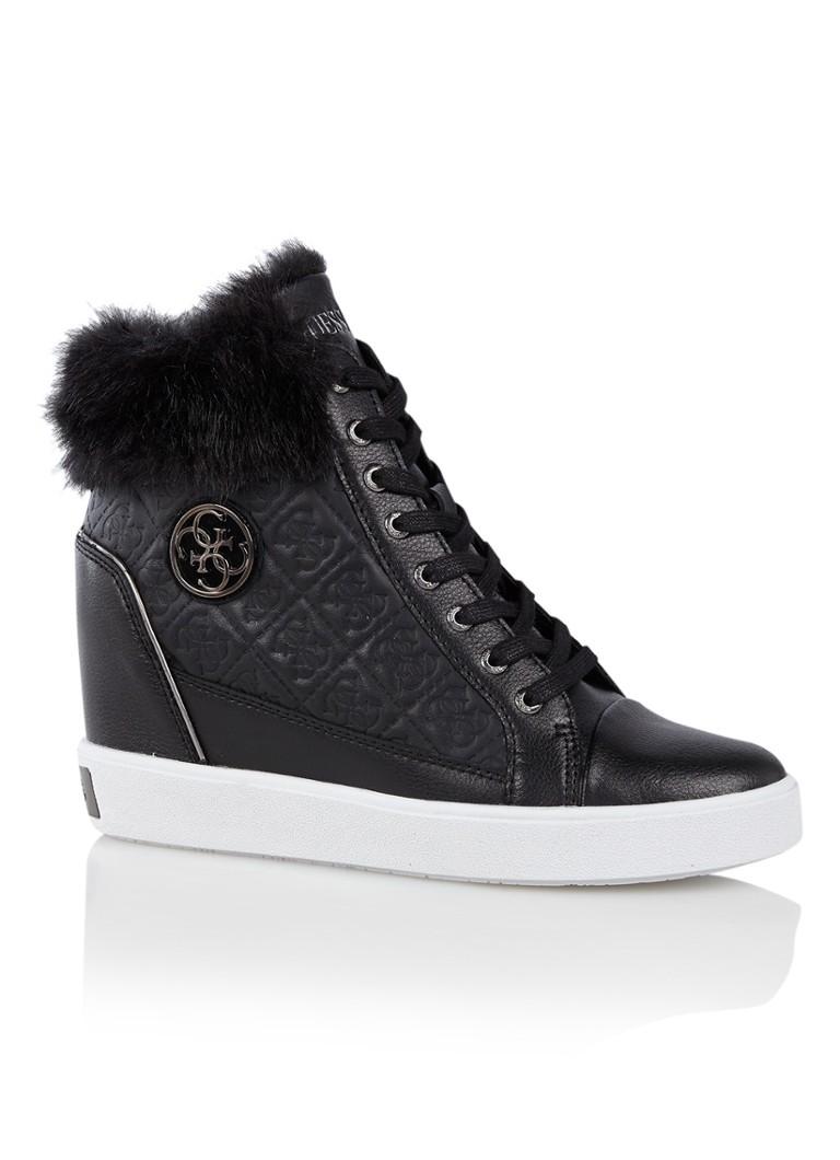 GUESS Furr sneakerwedge met leren details