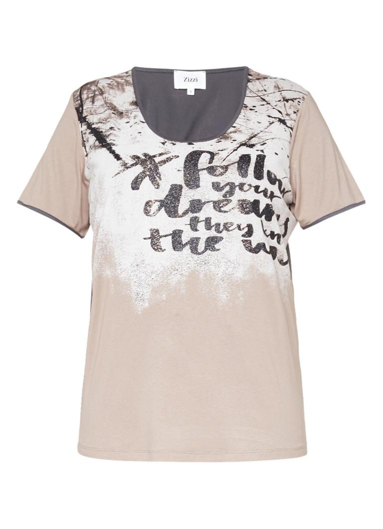 Zizzi T-shirt met print en lage hals blauw