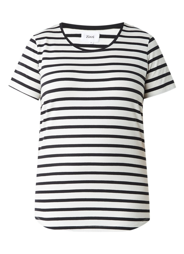Zizzi T-shirt met streepdessin blauw
