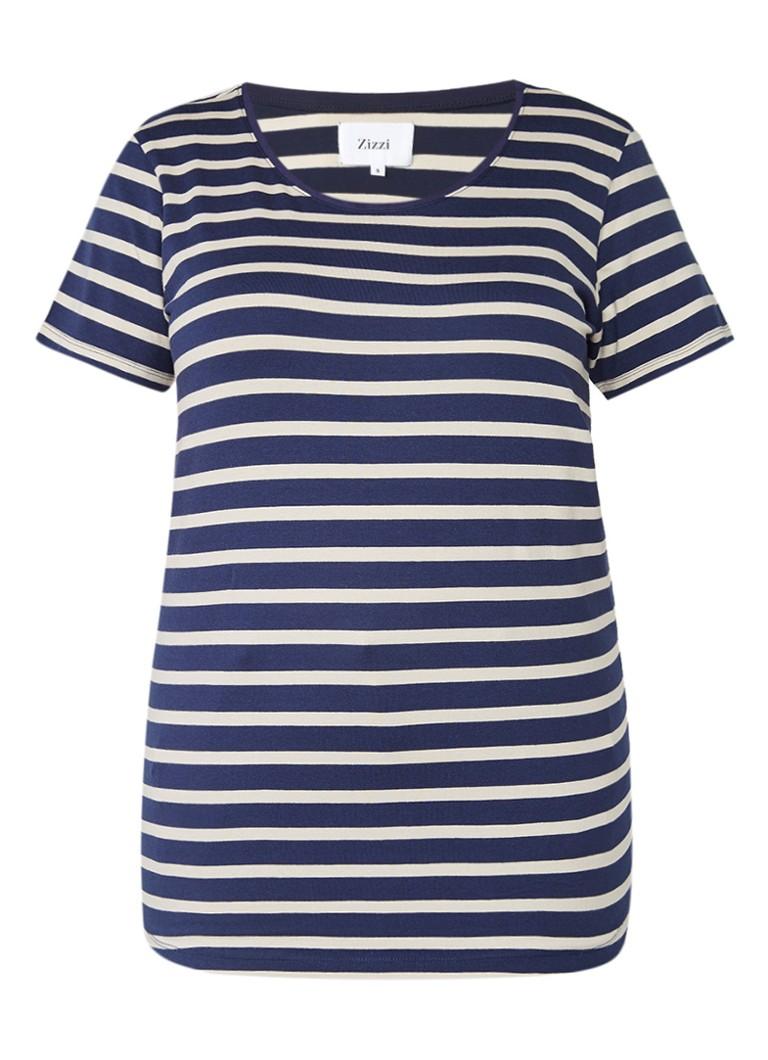 Zizzi T-shirt van jersey met streepdessin blauw