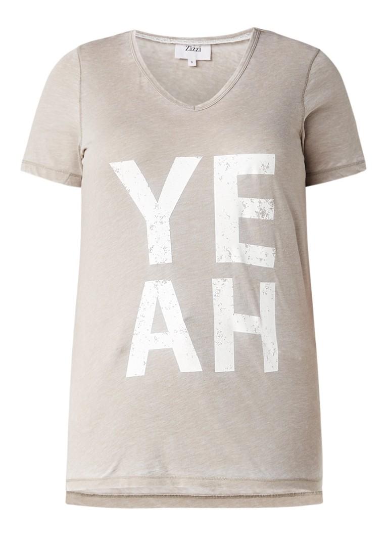 Zizzi Yeah T-shirt met glitteropdruk blauw