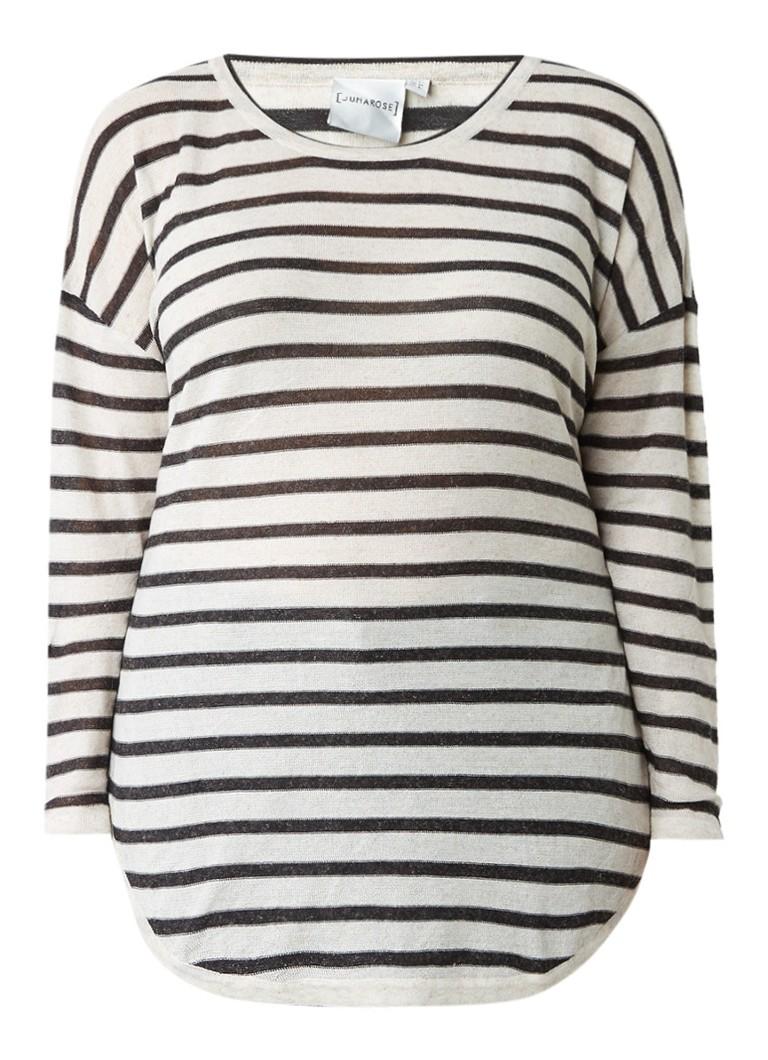 Junarose Denice pullover in linnenblend met streepdessin zwart