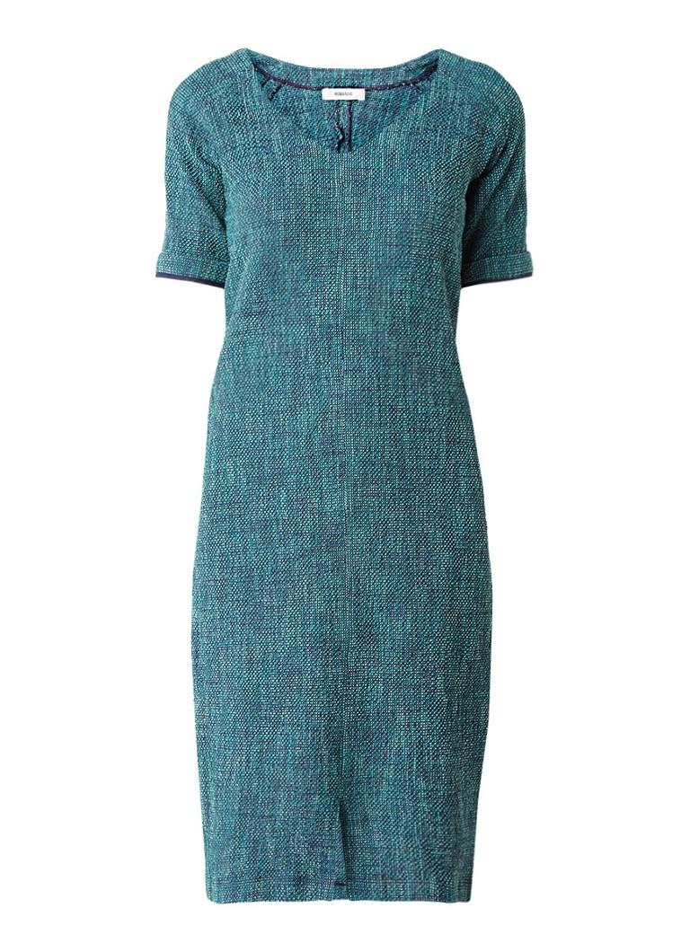 Humanoid Bouclé midi-jurk met V-hals en split zeegroen