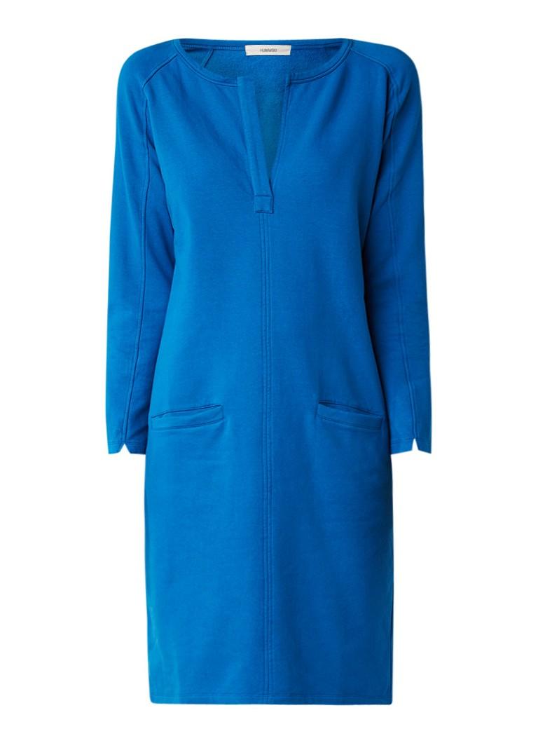 Humanoid Giya sweaterjurk met V-hals en steekzakken kobaltblauw