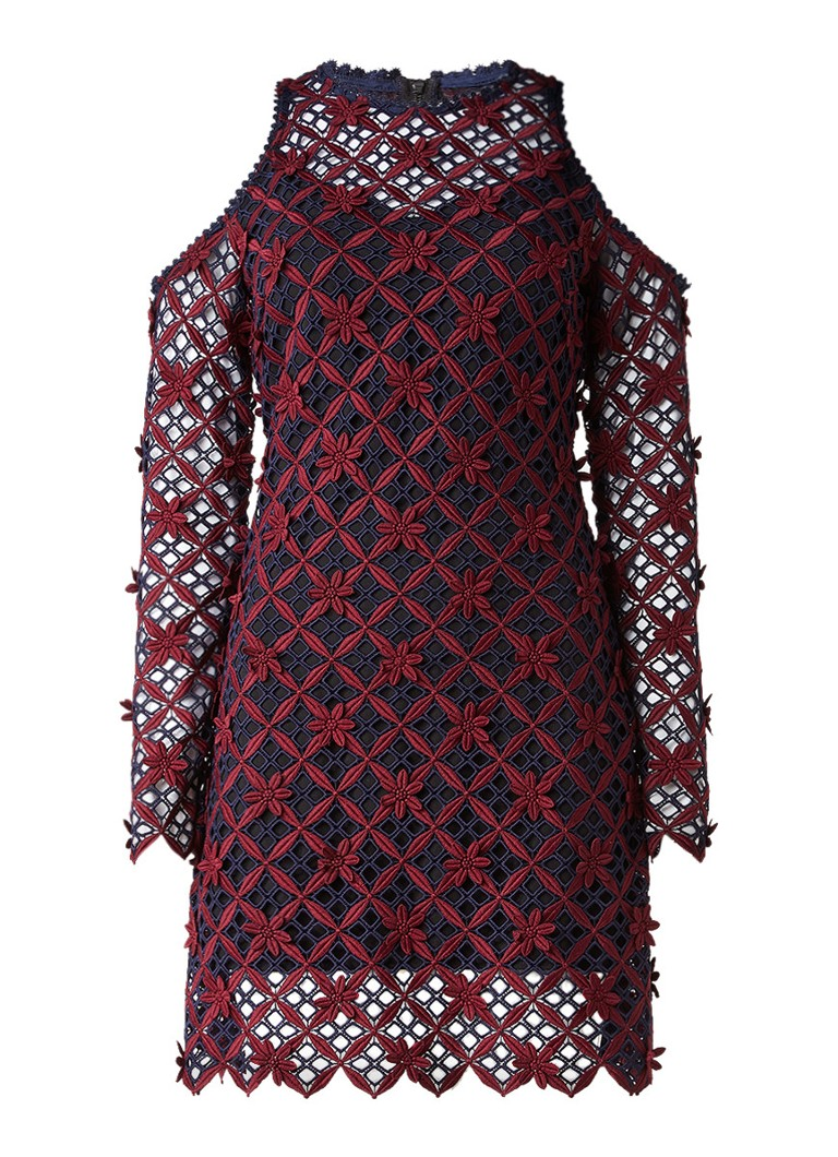 Self-Portrait Floral Grid cold shoulder jurk bordeauxrood