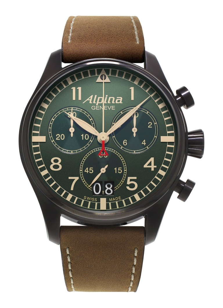 Alpina Horloge Startimer Pilot Chronograph Quartz AL-372GR4FBS6