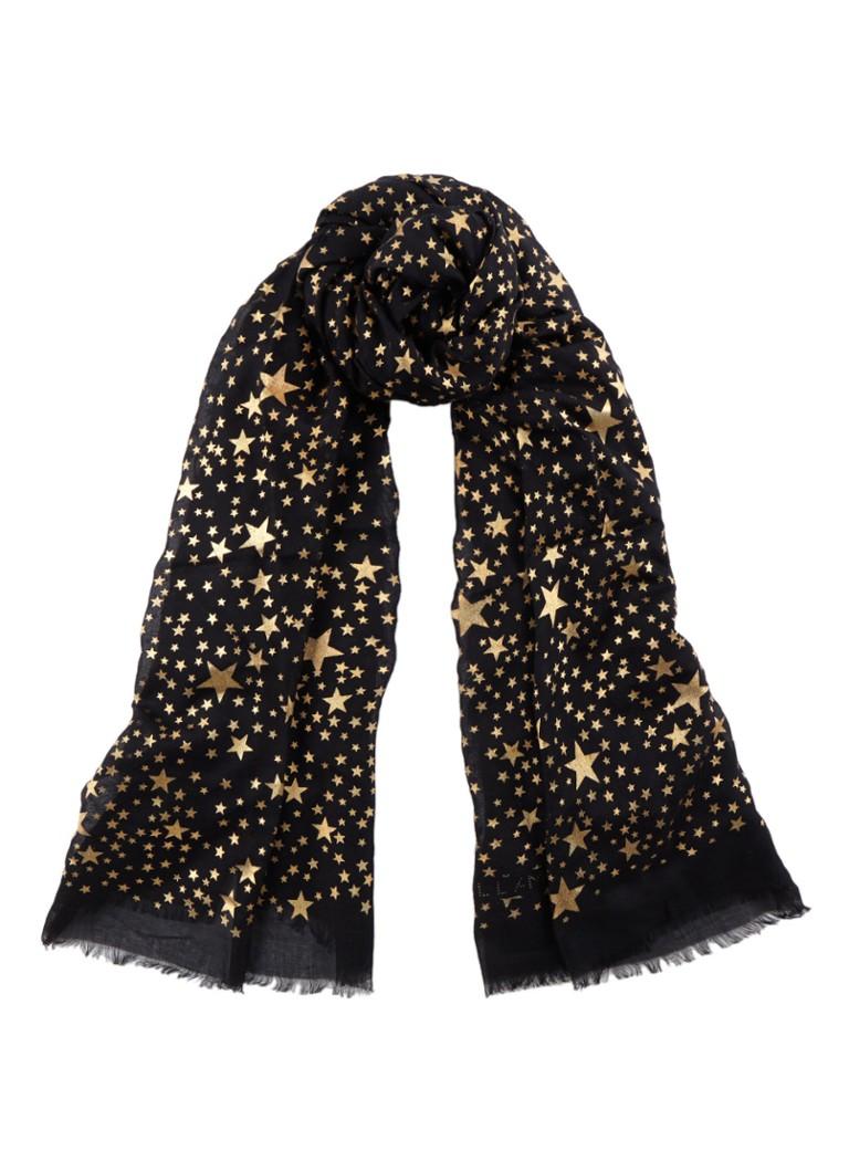 Stella McCartney Black star sjaal in zijdeblend 140 x 140 cm