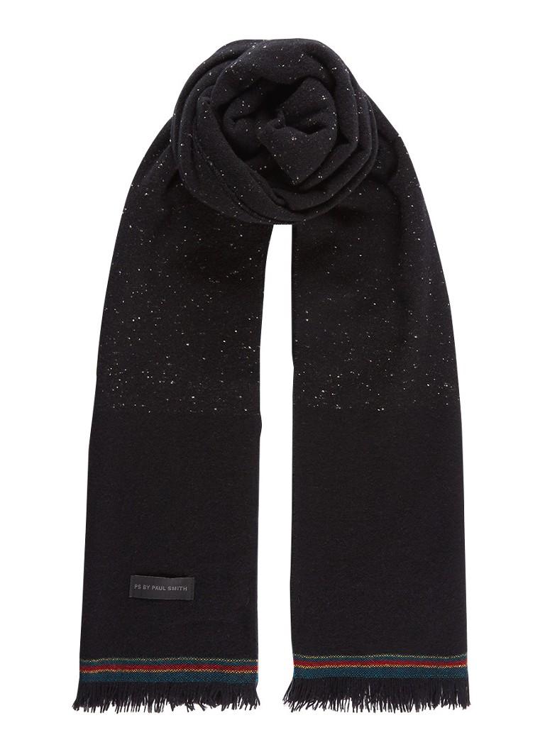 Sjaals en mutsen Paul Smith Sjaal van wol met stippendessin 100 x 30 cm Zwart