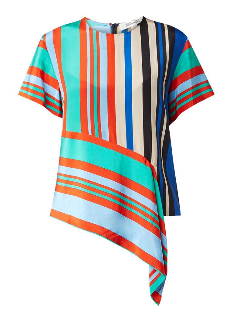 Diane von Furstenberg Asymmetrische top met streepdessin multicolor