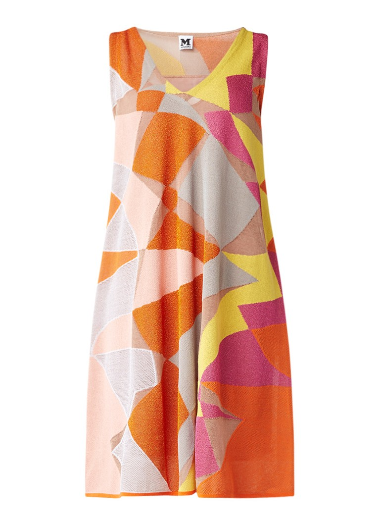M Missoni Fijngebreide jurk met grafisch dessin en glansdraad oranje