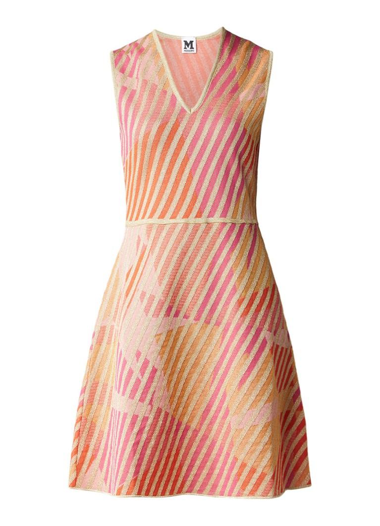 M Missoni Fijngebreide jurk met glansdraad oranje