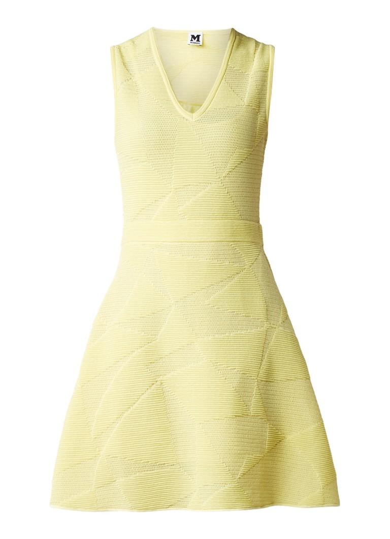 M Missoni A-lijn jurk met ingebreid dessin geel