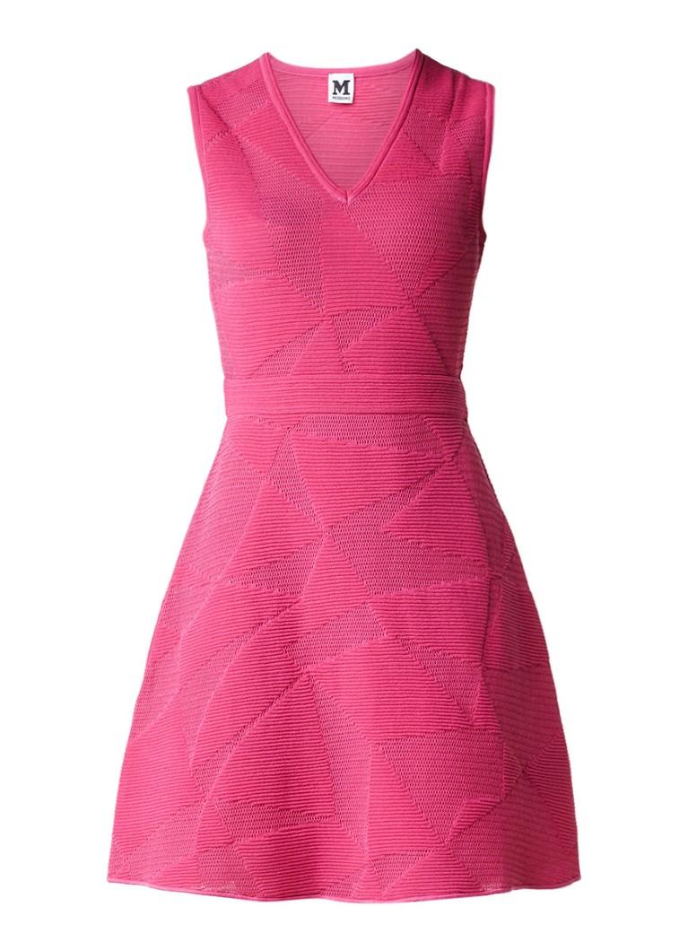M Missoni A-lijn jurk met ingebreid dessin fuchsia