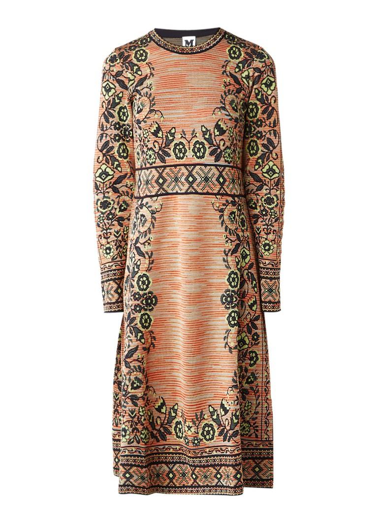 M Missoni Fijngebreide A-lijn jurk met jacquarddessin oranje