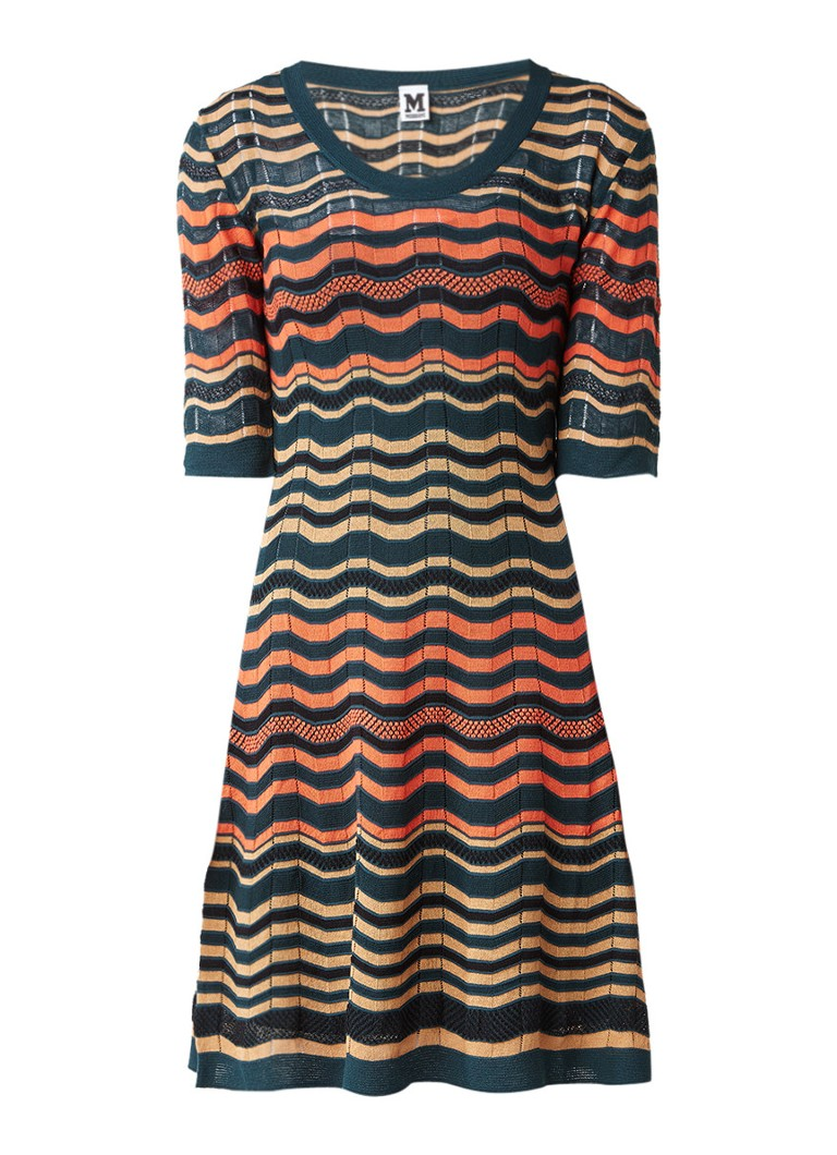 M Missoni Fijngebreide A-lijn jurk met streepdessin donkergroen